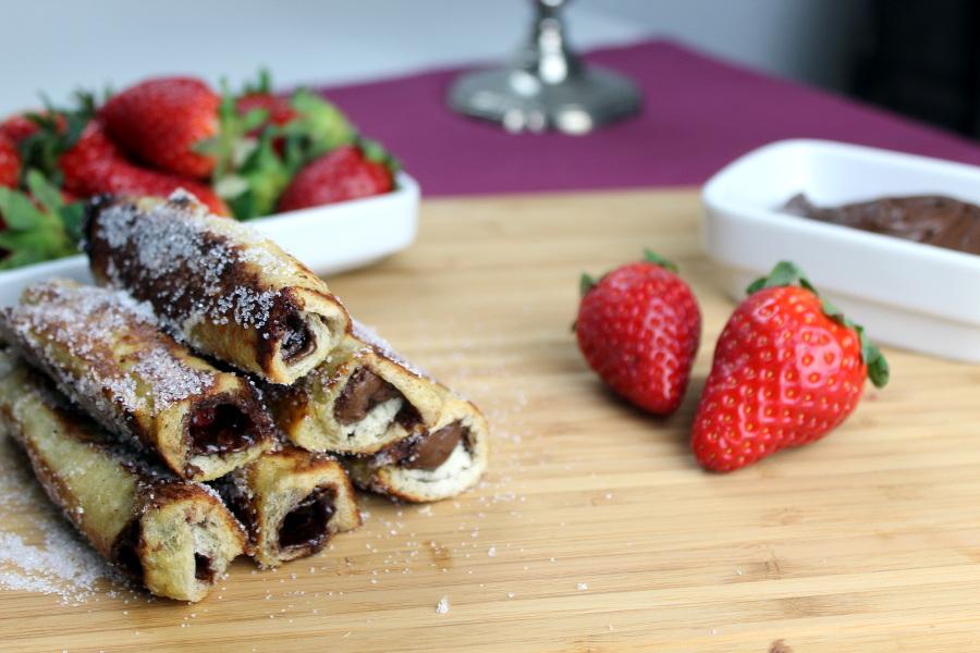 French Toast Rolls mit Erdbeeren und Nutella3