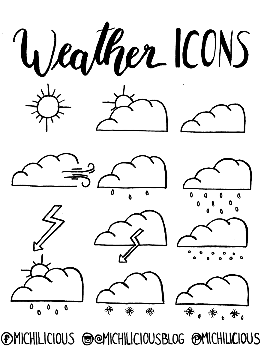 doodle with me wetter icons f r deinen kalender freebie michilicious handlettering und. Black Bedroom Furniture Sets. Home Design Ideas