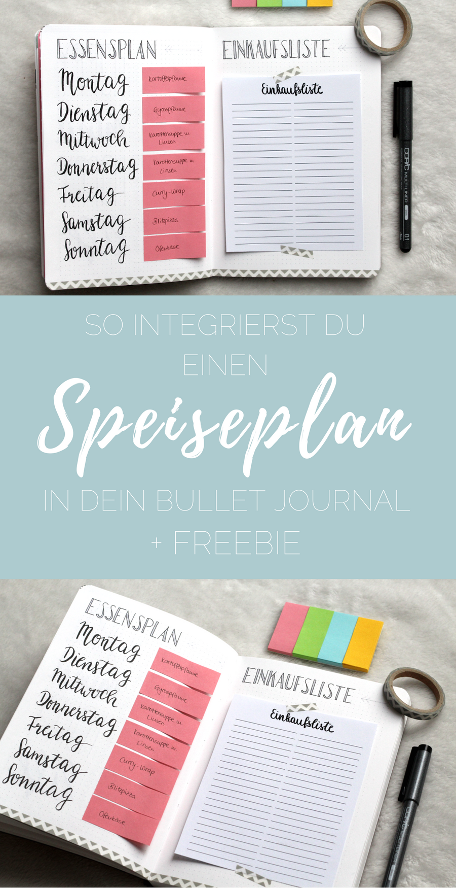 bullet journal so integrierst du einen essensplan in dein bullet journal freebie. Black Bedroom Furniture Sets. Home Design Ideas