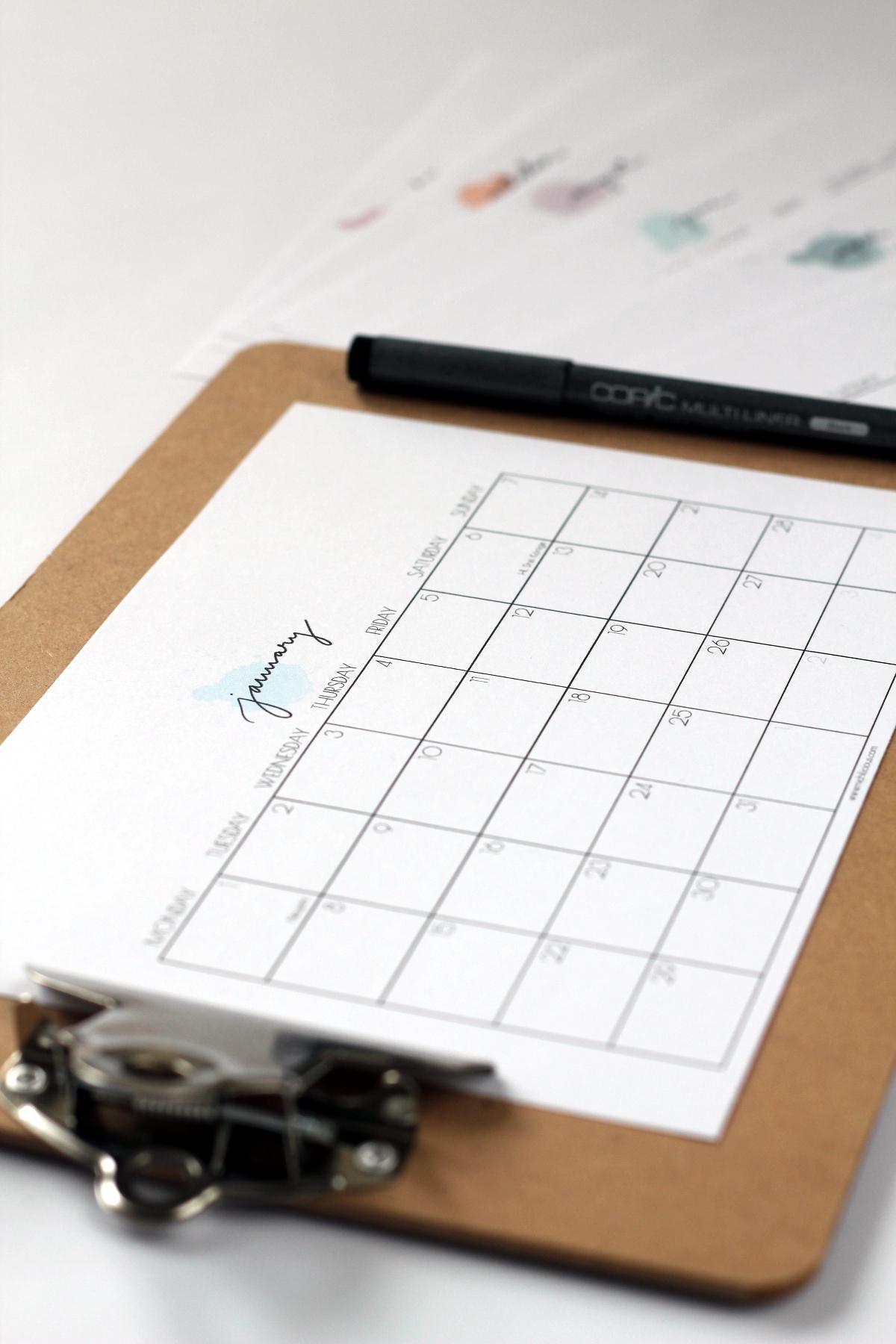 Handlettering Jahreskalender 2018