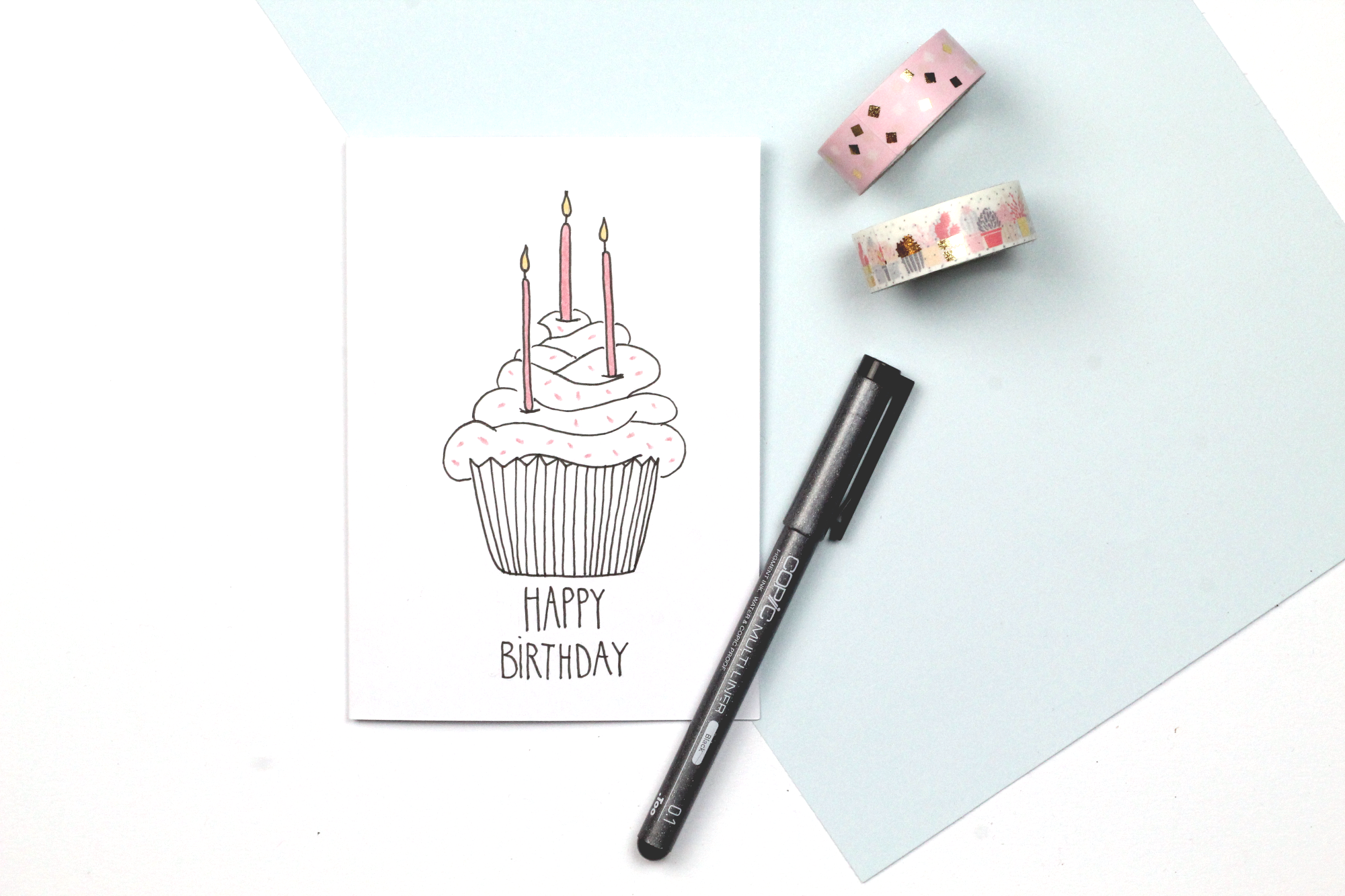Handlettering Geburtstagkarte Happy Birthday